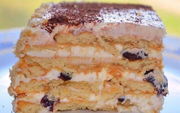Бесподобный тортик без выпечки с печеньем