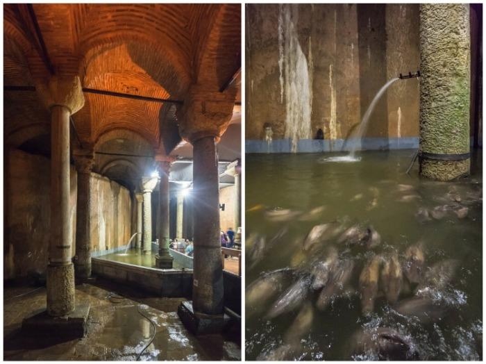 В подземном музее оформили «бассейн желаний», в котором есть совсем не золотые, но все же рыбки призванные исполнять мечты (Basilica Cistern, Стамбул).   Фото: vladimirdar.livejournal.com.