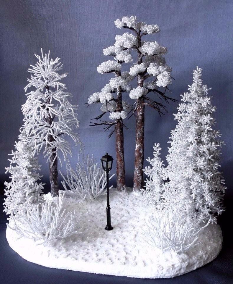 Зимняя композиция из бисера
