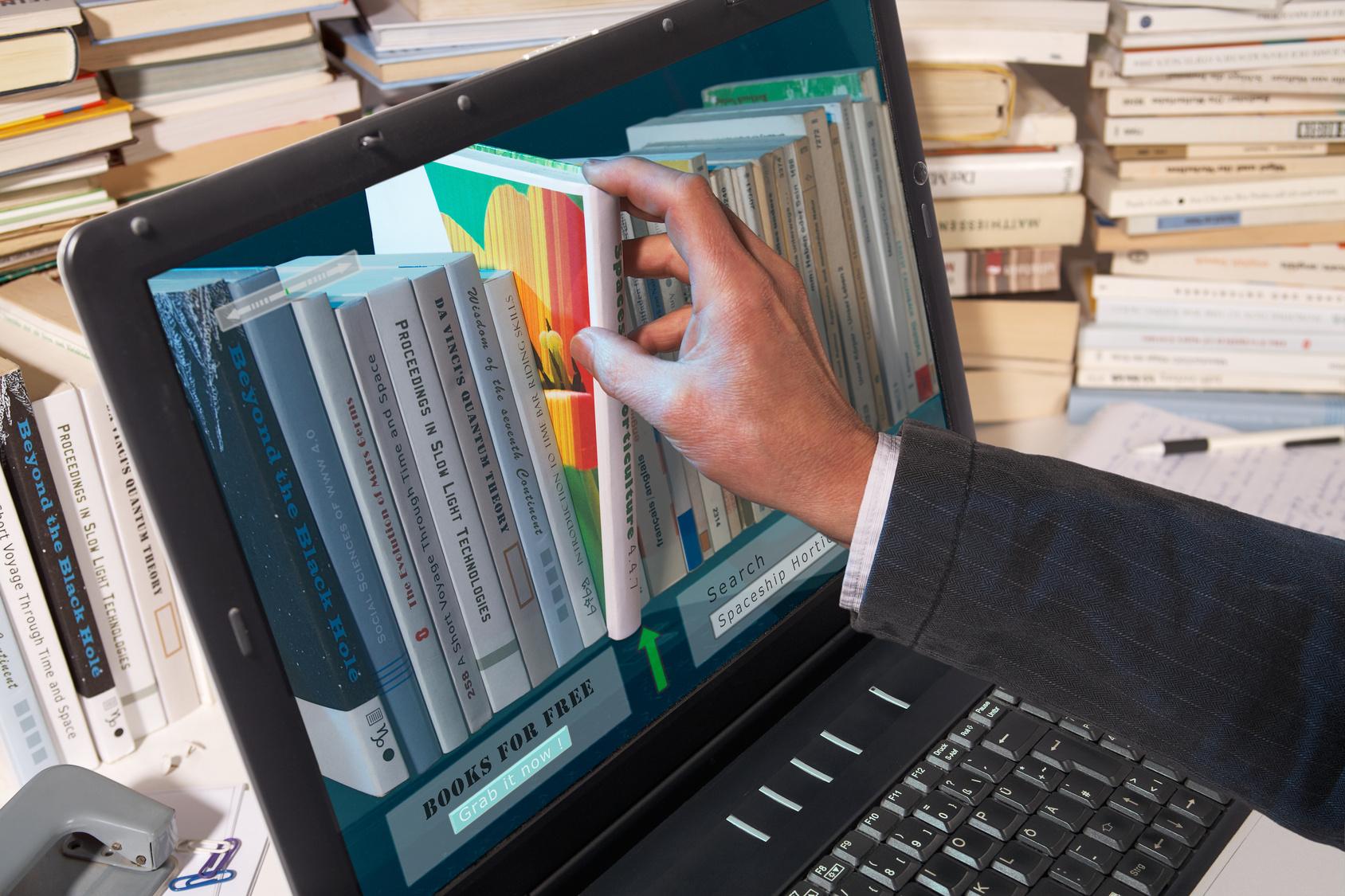 Книги и компьютер в картинках