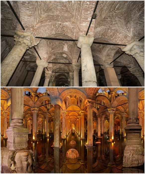 Колонны для строительства подземного водохранилища были привезены из храмов, разоренных византийцами во время войн (Basilica Cistern, Стамбул).   Фото: wordsofwonders.ru.