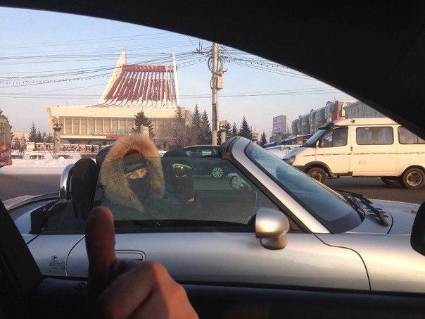 Русские водители кабриолетов. На улице -20°Ка