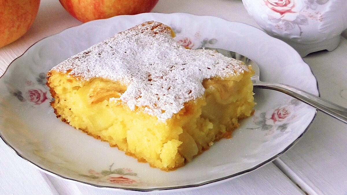 Ленивый кукурузный манник с яблоками! Без яиц, муки и масла! выпечка,кулинария,сладкая выпечка