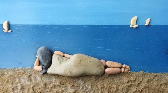 Картинки из пляжных камней Стефано Фурлани