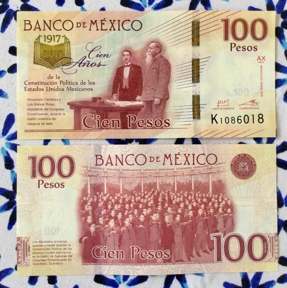 Купюры, вышедшие к 100-летию конституции Мексики