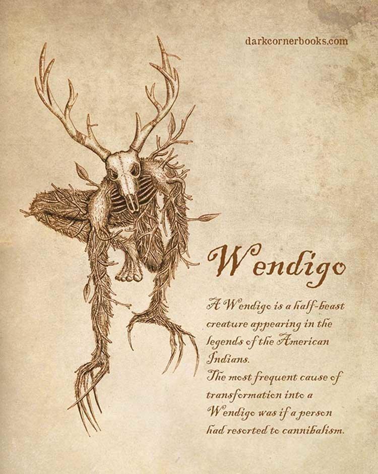 3. Вендиго (Wendigo) жуть, иллюстрация, мифические существа, рисунок