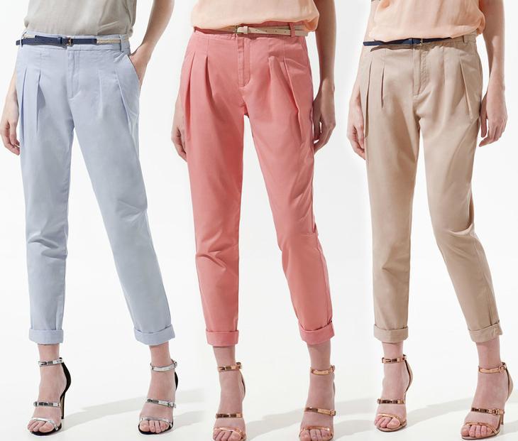 Яркие летние брюки бананы, сшитыте своими руками, на девушках-моделях