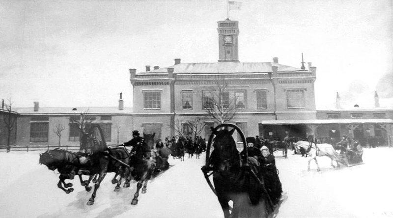 Развозка пассажиров на вокзале в Царском Селе. Россия. Конец 19-го века Весь Мир в объективе, ретро, старые фото