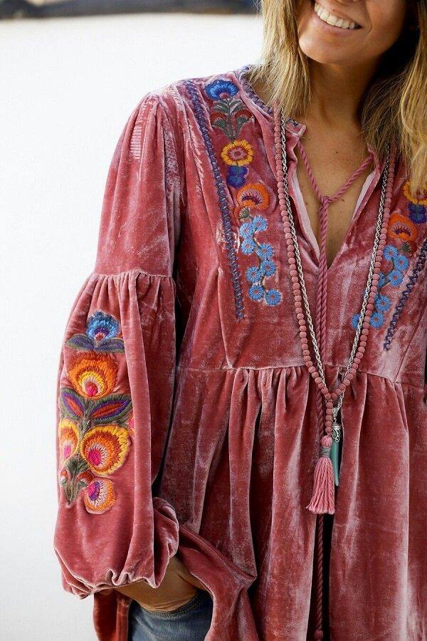Бархатная туника в стиле Бохо с завязкой и вышивкой