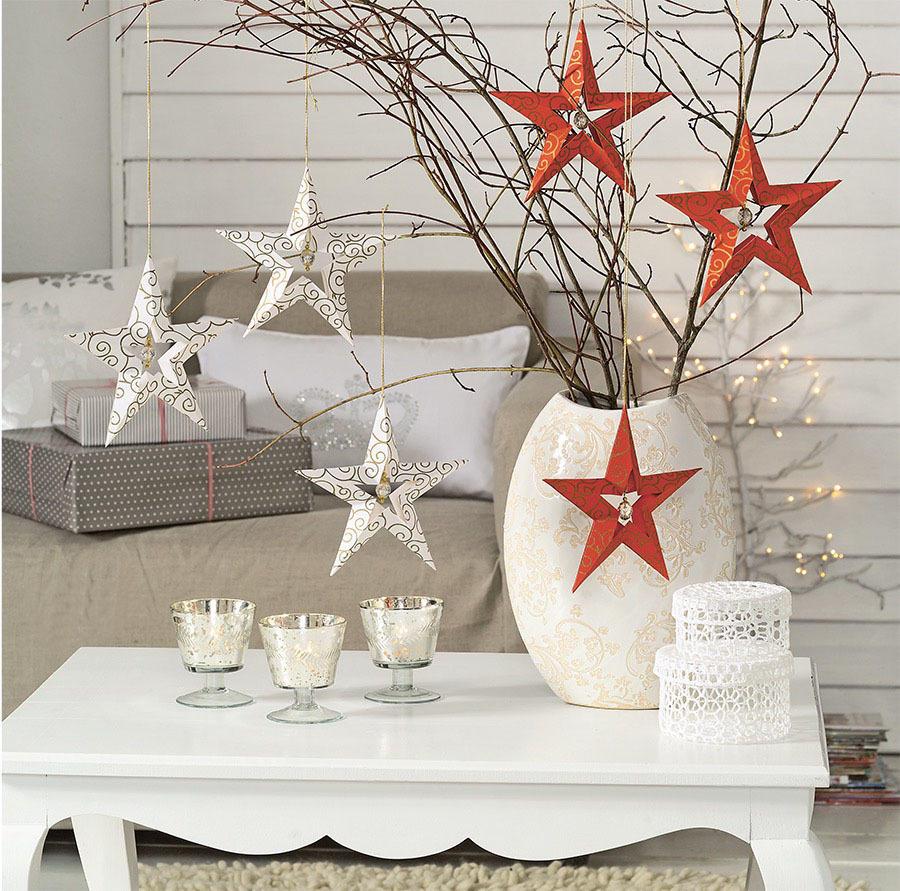 Объемные снежинки, звездочки, цветы из бумаги для новогоднего интерьера мастер-класс,новогодние украшения