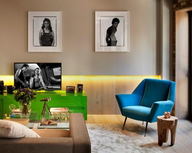 Голубой отлично сочетается с теплыми оттенками - кофейным, бежевым, сливочным, а также с сочными оттенками зеленого