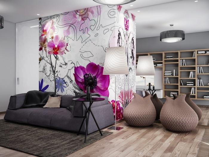 Классическая стационарная перегородка для зонирования пространства может быть не только функциональным, но и декоративным элементом помещения.