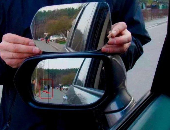 Для чего на автомобильном зеркале заднего вида нужна тонкая черная линия  авто и мото,автоновости