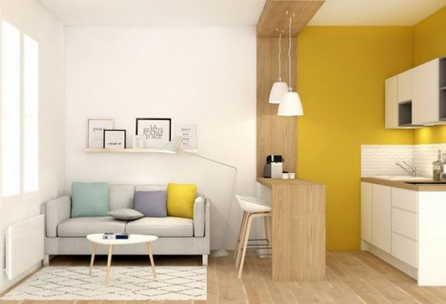 дизайн кухни в маленькой квартире студии