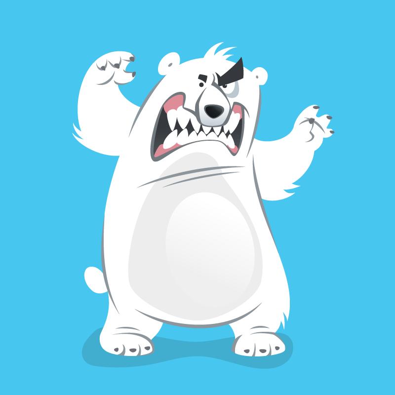 Опытный полярник иголодный быстрый медведь