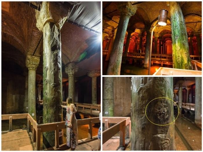 «Колонна слез» украшена античными завитками, напоминающими глаза, с которых медленно стекают капли воды (Basilica Cistern, Стамбул).   Фото: vladimirdar.livejournal.com.