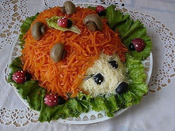 Салат ёжик-красивое и вкусное блюдо