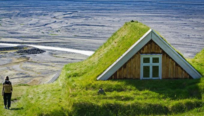 Скандинавские дома с живой крышей