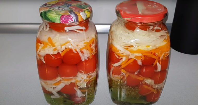 Маринованные помидоры и хрустящая капуста на зиму: рецепт 2 в 1