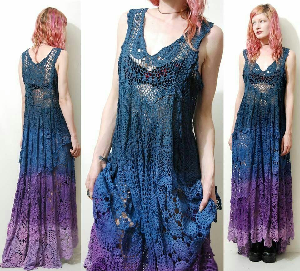 Летние вязаные платья с градиентом