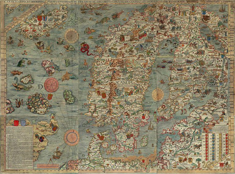 Carta Marina Олафа Магнуса 1539 г. показывает все разнообразие морских чудовищ в водах между Норвегией и Исландией.