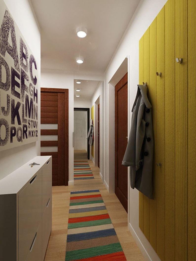 Узкая (прямоугольная) маленькая прихожая - дизайн интерьера