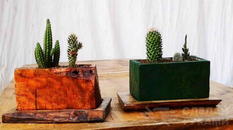 Изготовление деревянных цветочных горшков из обрезков доски