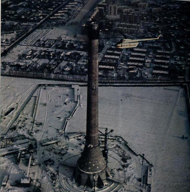 Останкинская Телебашня в процессе строительства. /Фото: bigpicture.ru