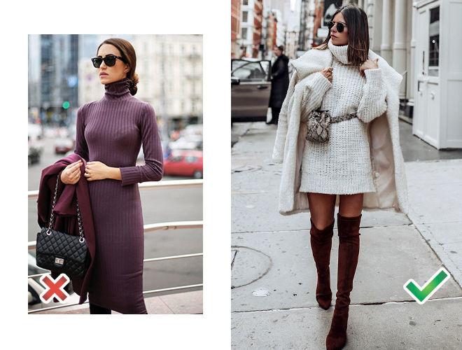 Тонкое трикотажное платье фото, платье-свитер с пальто в пастельных тонах фото
