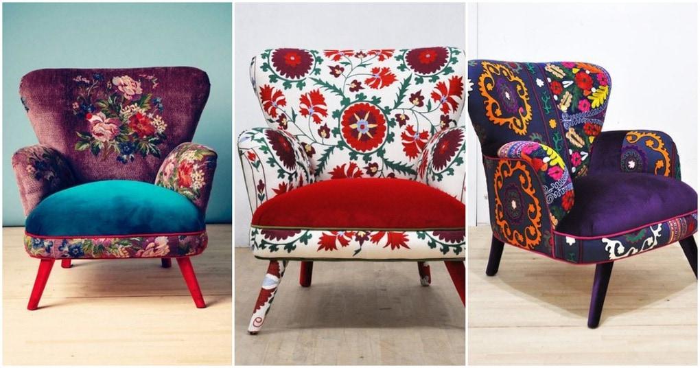 Яркое кресло в винтажном стиле станет жемчужиной вашей комнаты