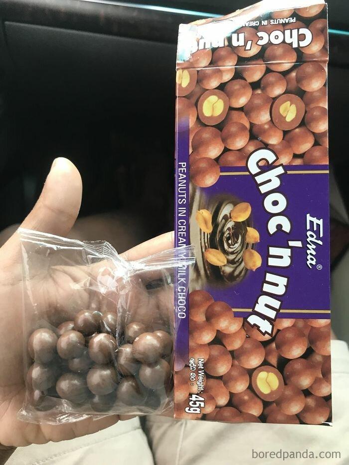 17. Простите, а где можно получить остальные три четверти этих прекрасных орешков в шоколаде? Маркетинговые хитрости, Наглость не знает границ, дизайн, жадность, наглость второе счастье, обман, производители сошли с ума, упаковка