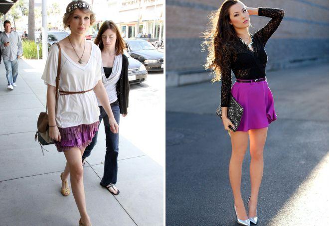 фиолетовая мини юбка