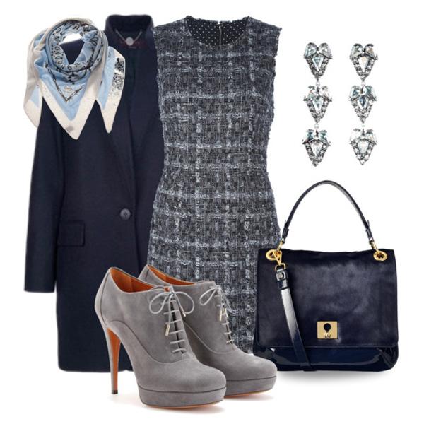 Роскошное и элегантное: 24 нескучных образа с серым платьем