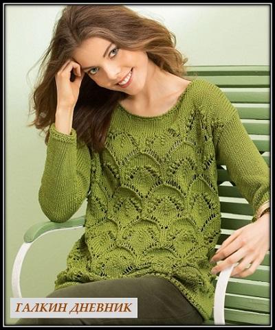 Зеленый пуловер спицами с кр…