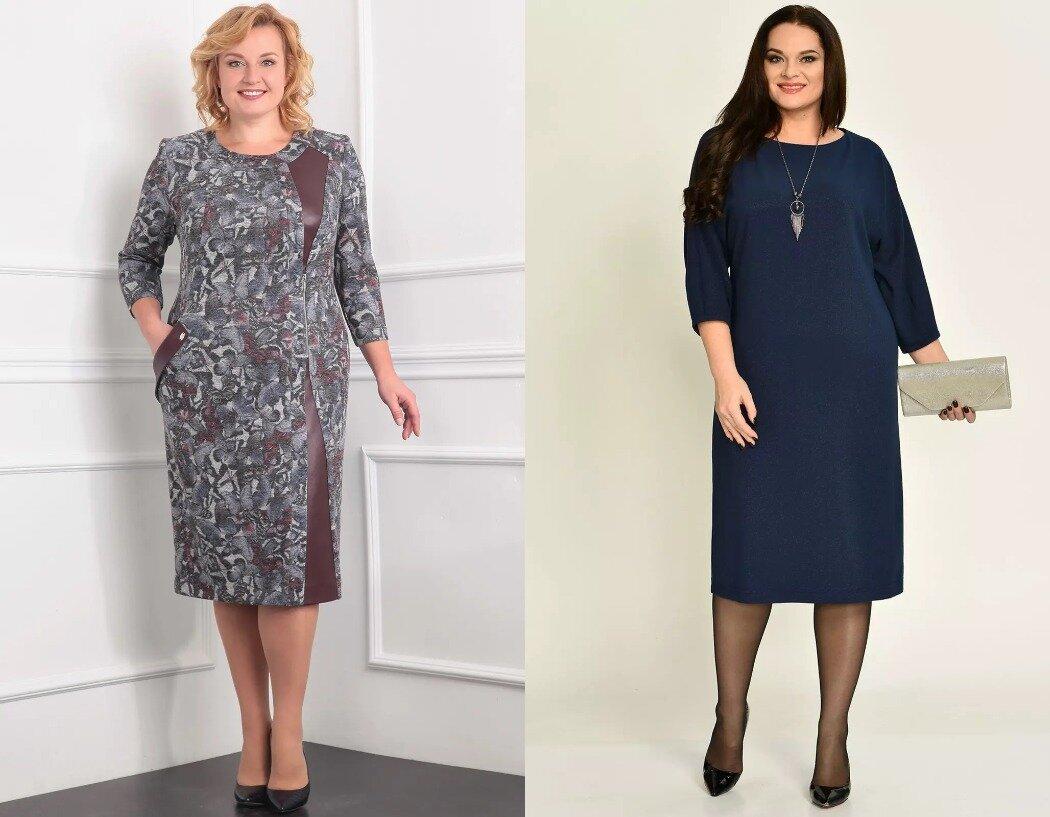 Для невысоких полных женщин при наличии талии подходят слегка приталенные платья, а при отсутствии талии - прямые силуэты