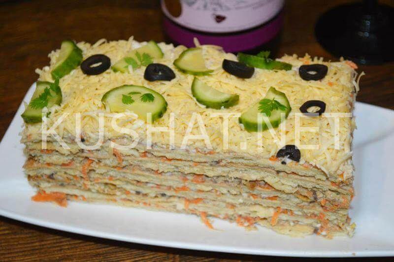 25_закусочный торт Наполеон с консервами
