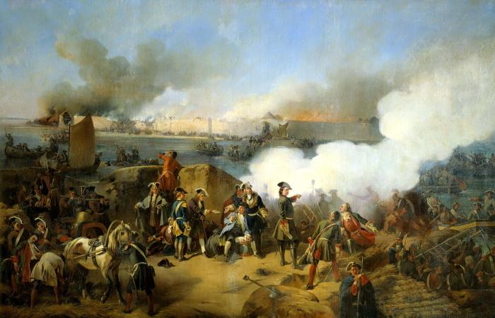 «Штурм крепости Нотебург 11 октября 1702 года». Картина художника-баталиста Александра Коцебу, 1846 год