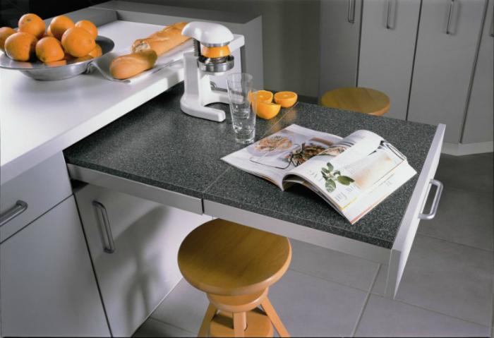 Выдвижные столешницы на кухне.