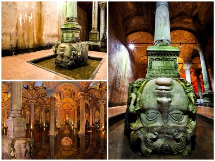 Окаменевшая Голова Медузы Горгоны привлекает всеобщее внимание (Basilica Cistern, Стамбул).   Фото: istanbul-turkey.ru.