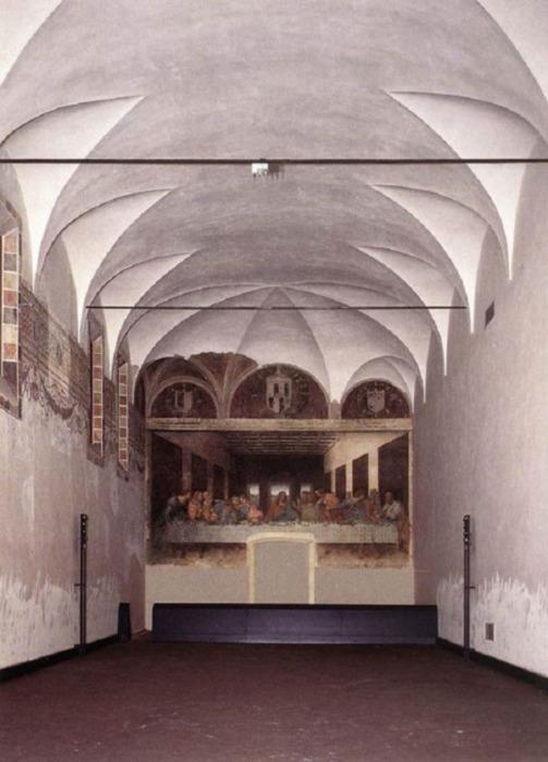 «Тайная вечеря» Леонардо да Винчи в трапезной церкви Санта-Мария-делле-Грацие в Милане