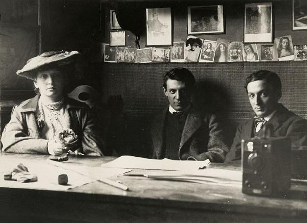 Фернанда Оливье, Пабло Пикассо и Рамон Ревентос. Фото, 1906.