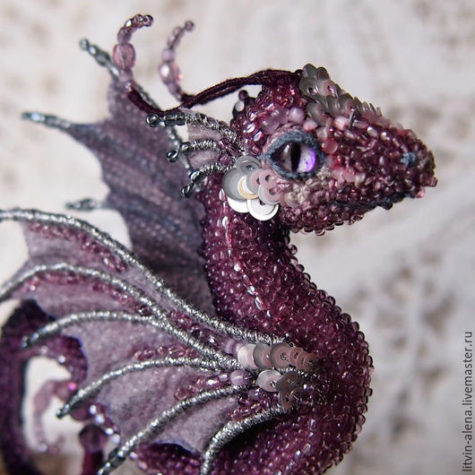 Brooches handmade. Order Brooch dragon 'Sea butterfly'. Brooch beads. Embroidered dragon. master Alena Litvin. Livemaster. purple