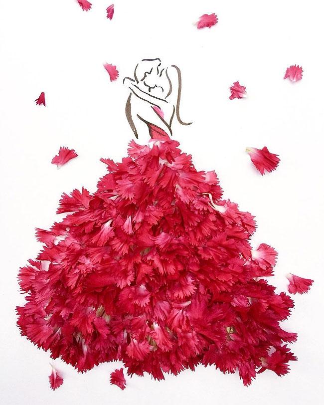 Открытка платье из цветов, анимаций картинки