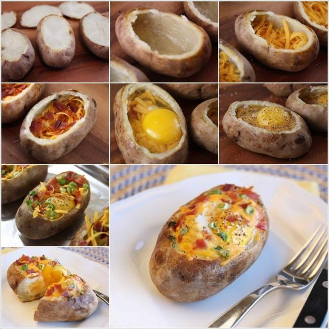 Запеченный картофель с яйцом, сыром и овощами. еда, своими руками, сделай сам