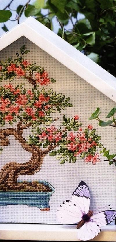 """Схема вышивки крестом """"Цветочный бонсай"""""""