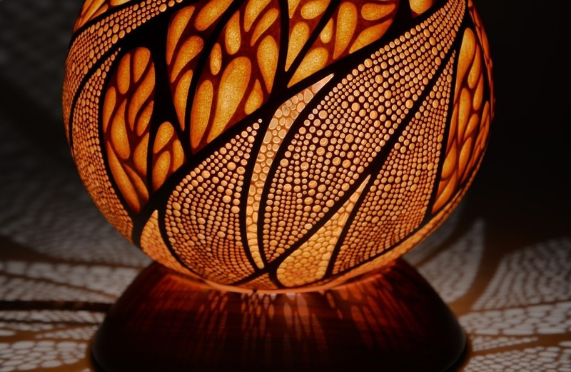 Лампы из сушенных тыкв