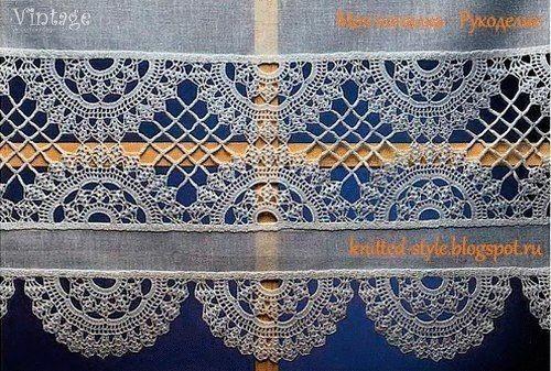 Гардина с вязаным кружевом в винтажном стиле