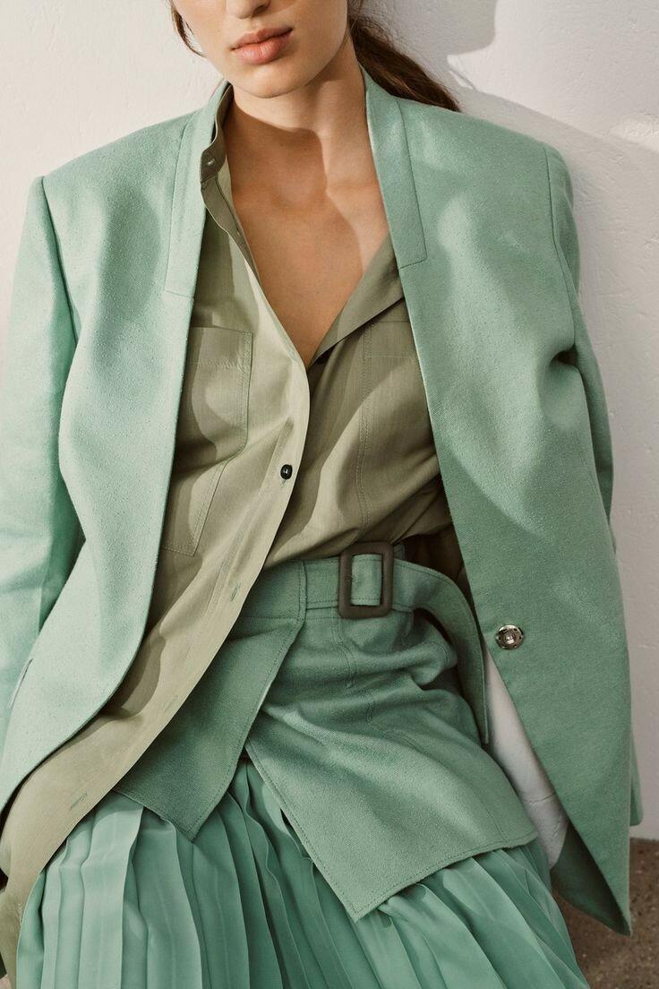 Зеленый шалфей, цвет который станет хитом 2020 года мода,мода и красота,модные образы,модные тенденции,одежда и аксессуары