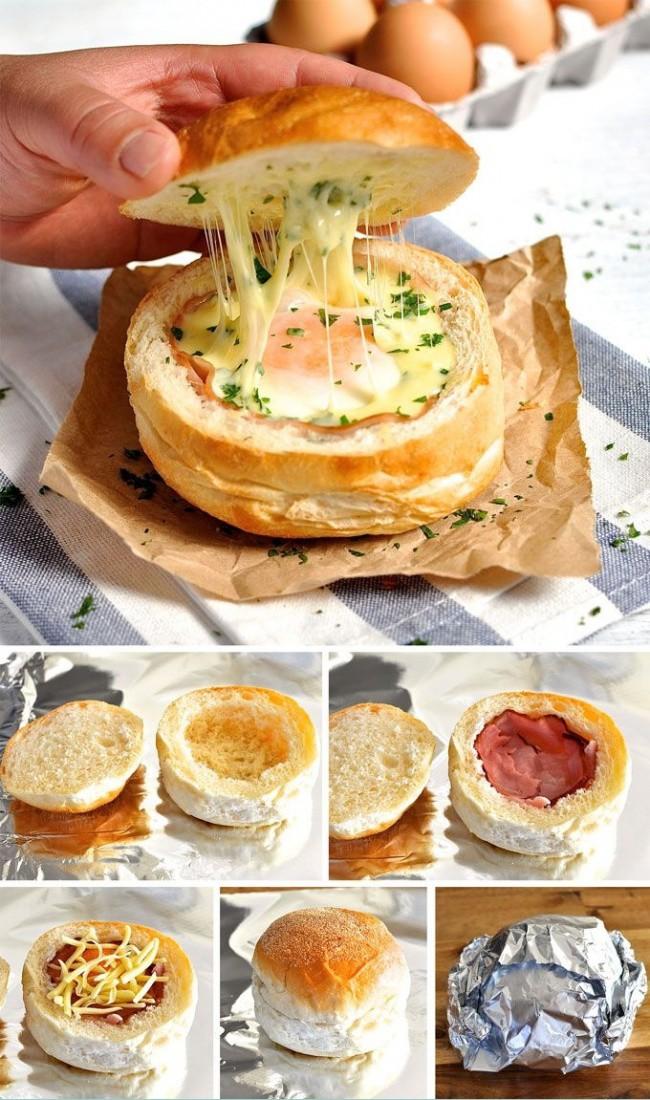 Сэндвич с яйцом, беконом и сыром. еда, своими руками, сделай сам