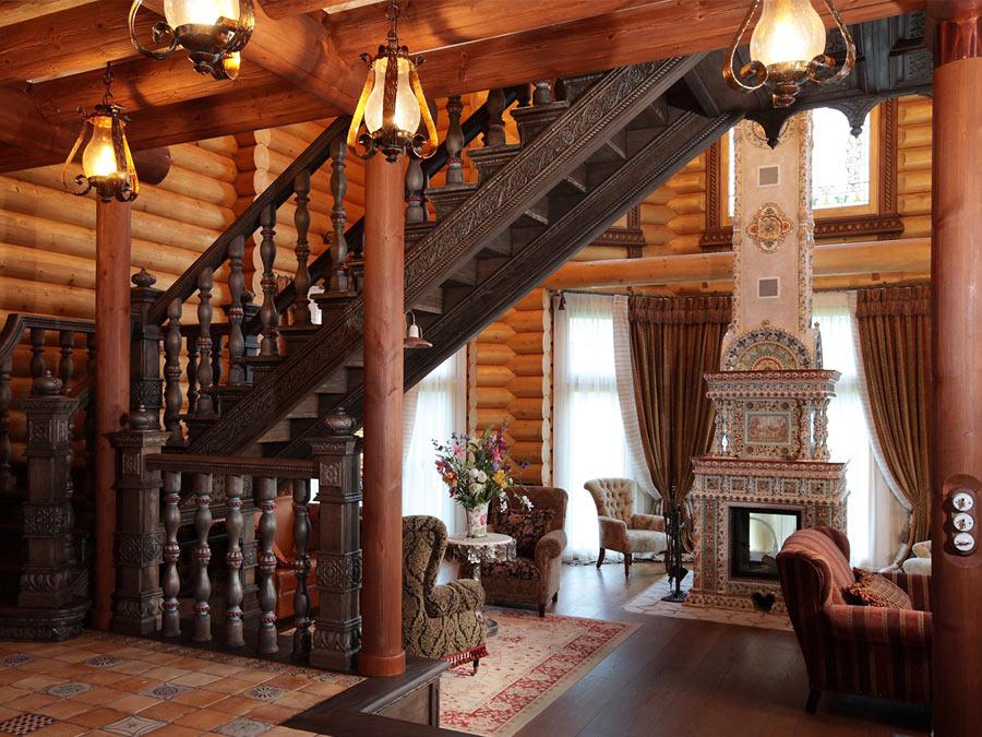 дом в русском стиле интерьер фото